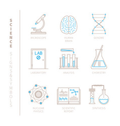 set of science icons and concepts in mono thin vector image