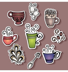 Set of Stickers with Ornamental Coffee Cups vector image
