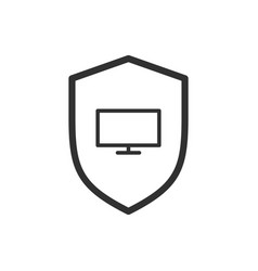 shield line icon web security symbol computer vector image