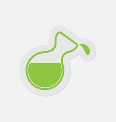 Simple green icon - flask with a drop vector
