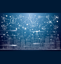 Smart city with neon buildings networks vector