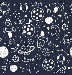 space pattern monochrome on dark blue background vector image