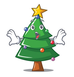 Surprised christmas tree character cartoon vector