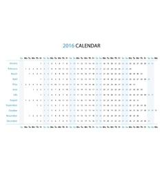 The 2016 linear calendar vector