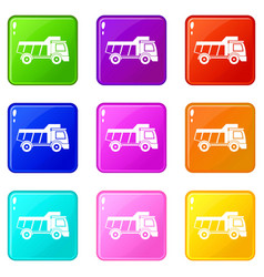 Toy truck icons 9 set vector