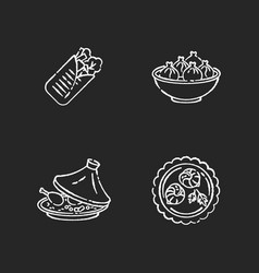 traditional dish chalk white icons set on black vector image