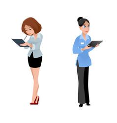 two girls secretaries vector image
