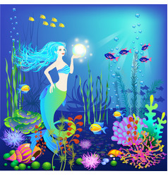 Underwater world little mermaid fishes sea vector