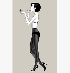 undressed woman paints lips in dark pantyhose vector image