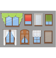 various types windows curtains set vector image