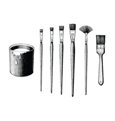 vintage paint brushes set and paint can hand vector image
