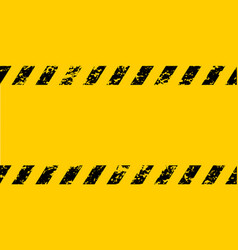 warning frame grunge yellow black diagonal stripes vector image