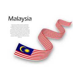 Waving ribbon or banner with flag of malaysia vector