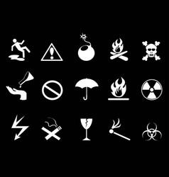 White symbols - hazard warning icons set vector