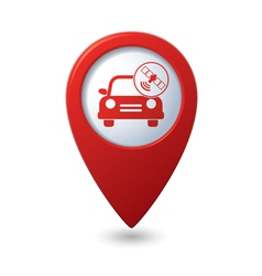car with satelite icon on red pointer vector image vector image