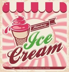 Ice cream retro poster vector image
