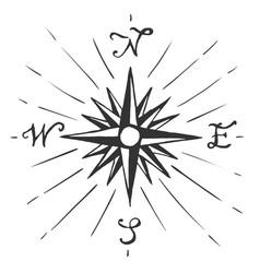 sketch sign wind rose vector image vector image