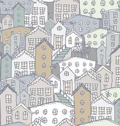 Urban winter landscape seamless pattern Sketch vector image