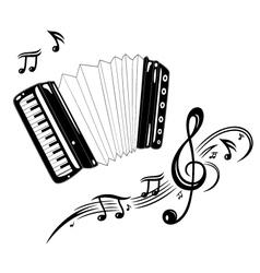 Accordion music vector image vector image