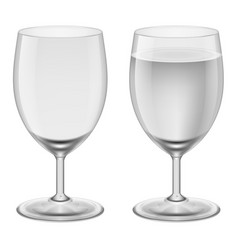 empty wineglass and a wineglasses with water on vector image