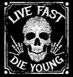 live fast die young grunge design with vector image
