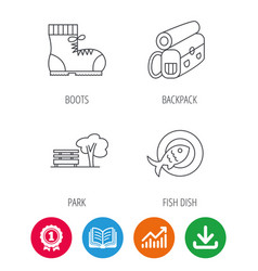 park backpack and hiking boots icons vector image vector image