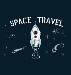 space travel of rocket vector image vector image
