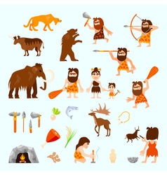 Stone Age Flat Icons Set vector image vector image
