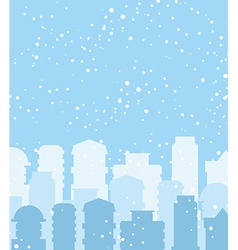 Winter city Snow falls on building Sky with vector image