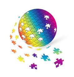 3d puzzle globe design vector image
