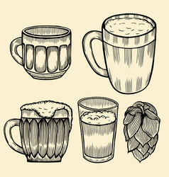 beer glasses and mugs vector image