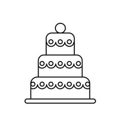 big wedding cake line icon sign vector image