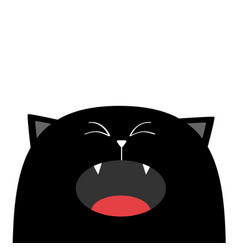 black cat face head silhouette screaming crying vector image vector image