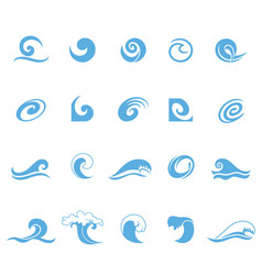 blue wave icons set vector image vector image