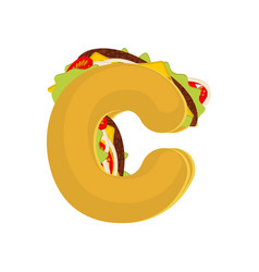 letter c tacos mexican fast food font taco vector image vector image