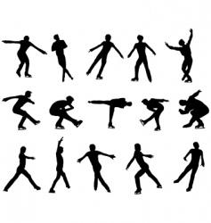 mans figure skating silhouette set vector image
