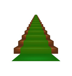 stairs covered with green carpet vector image vector image