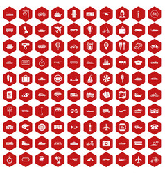 100 public transport icons hexagon red vector