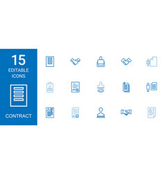 15 contract icons vector image