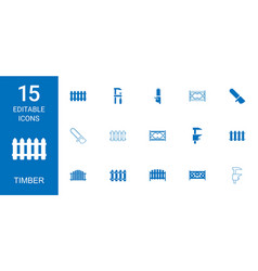 15 timber icons vector image