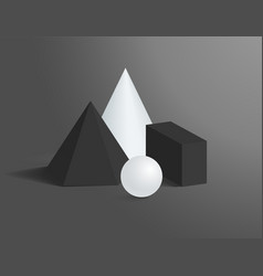 3d geometrical shapes of black and white colors vector image