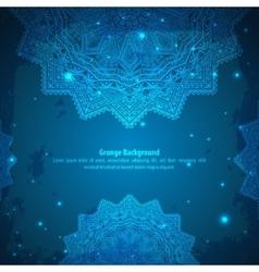 Abstract Aztec blue ornament vector