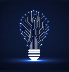 abstract glowing lamp with circuit board vector image