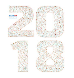 abstract polygonal numbers for new year 2018 with vector image