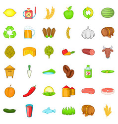 Agriculture working icons set cartoon style vector