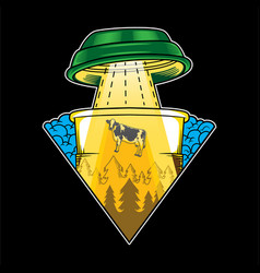 Alien coffee flying saucer abduction vector