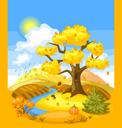 Autumn landscape with trees mountains and hills vector