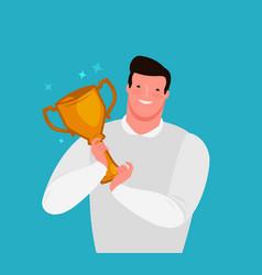awarding ceremony prize winner in hands flat vector image