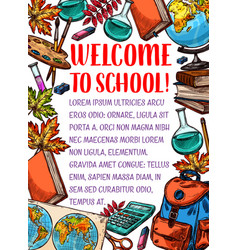 back to school stationery sketch poster vector image