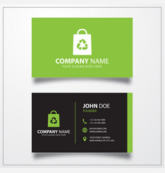 Bag with recycle icon business card template vector